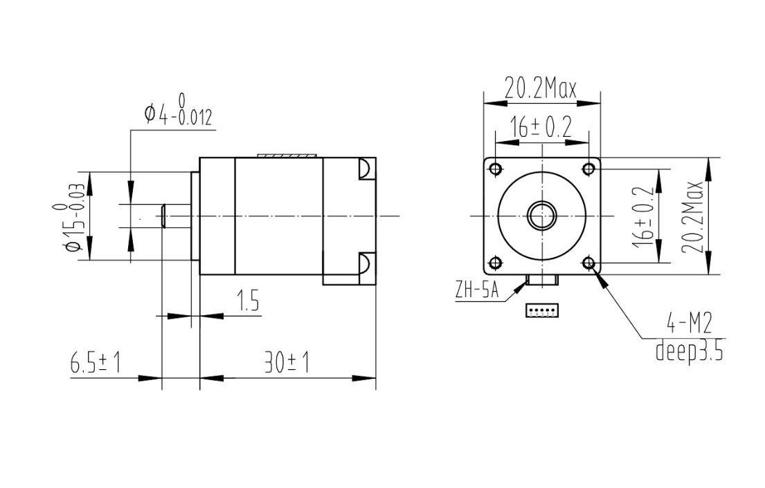 NEMA 8 Bipolar, 200 Adım, 20×30mm, 3.9V Step Motor - PL-1204